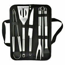 9 PCS BBQ Grill Cooking Utensils Tool Set Stainless Steel Barbeque Portable