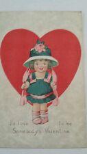 Vintage Post Card Valentine's Girl w Hat