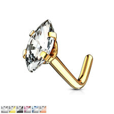 """Marquise CZ Top 316L Surgical Steel """"L"""" Bend Nose Stud / Bone / Ring"""