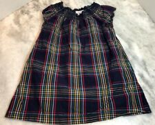 HANNA ANDERSSON Navy, Red, Yellow, Green White Plaid Girls Smocked Dress Size 4