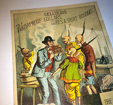 Antique Victorian Celluloid Clothing Accessories Advertising Trade Card! Asian