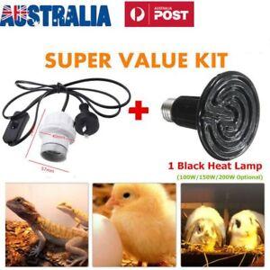 E27 Infrared Ceramic Heat Emitter Lamp /Holder for Reptile Pet Turtle Brood