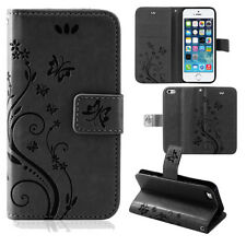Pouch Mobile Phone Case Wallet Cases Flowers Flip Cover Book Case Black Samsung Galaxy S7