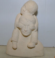 "Klara Sever Sculpture Father & Son - Dad Boy Covering eyes on Shoulders 12"" Rare"