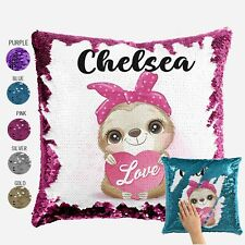 Sloth Cushion Cover  -  Personalised Sequin Throw Pillow Gift for Boy or Girl