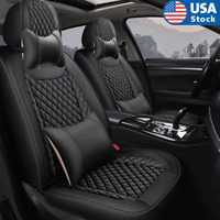 Black PU Leather 5-Seats Car Seat Covers Front+Rear Full Set Cushions w/ Pillows