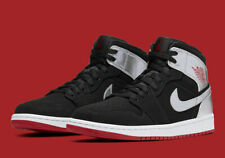 "Nike Air Jordan 1 Mid ""Johnny Kilroy"" Shoe Black Red Silver 554724-057 Men's NEW"