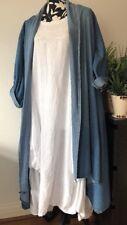 Quirky Lagenlook Coton Bleu Denim Look Long Duster Veste Taille 14 16 18