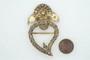 ANTIQUE CHINESE PERANAKAN SILVER GILT JARGOON KERONGSANG SERONG HEART IBU BROOCH