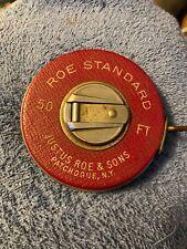 Roe Standard Tape Measure 50 FT. Justus Roe & Sons. Used Clean.