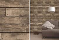3D Brown Realistic Wood Planks Effect Wooden 3D Design Vinyl Urban Wallpaper