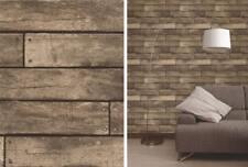 3D Brown Realistic Wood Planks Effect Wooden 3D Design Urban Wallpaper