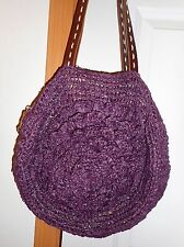 ANTHROPOLOGIE LUCKY PENNY Straw Tote/Handbag Dark Plum/Purple w/Leather Handle