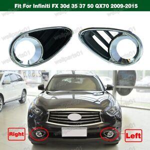 Chrome Fog Light Lamp Bezels Cover for Infiniti FX 30d 35 37 50 QX70 2009-2015