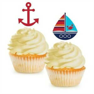 Ahoy Matey Nautical Cupcake Toppers 12 Per Pack Boy Baby Shower Decorations