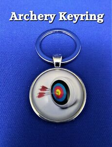 Archery keyring key chain Target arrows 28mm diameter @ MrsMario's FREE P&P