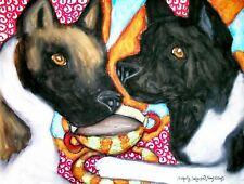 Akita Drinking Coffee Dog Outsider Pop Folk Vintage Art 8 x 10 Signed Print