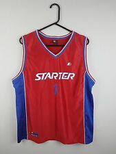 VTG MENS RED STARTER USA BRIGHT BOLD ATHLETIC SPORTS BASKETBALL JERSEY TOP VGC M