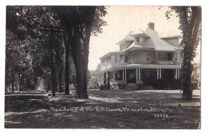Illinois real photo postcard Princeton Residence of Mr. S.P. Clark Childs photo