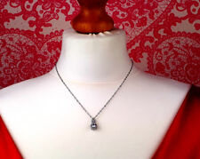 Ladies Girls Pendant Necklace Pear Drop Cubic Zirconia Crystals Silver Colour