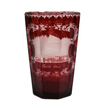 Bohemian German Intaglio Cut Glass Ruby Red to Clear Tumbler c1910 architectural