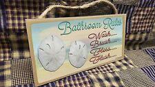 """Bathroom Rules Wash Brush Flush Sand Dollar 5"""" x 10 SIGN Bathroom Wall Plaque"""