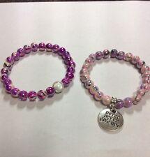 Pink purple mixed pattern beads acrylic inspirational charm stretch bracelet