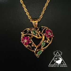 Real 10k Yellow Gold Sapphire Emerald Ruby Diamond Heart Necklace