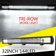 32inch 432W Tri-row LED Work Light Bar Combo Flood Spot Driving Lamp Offroad SUV
