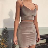 Womens Velvet Strappy Crop Top+Mini Dress Bodycon Club Party Skirt Set Two-piece