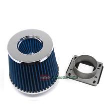 MAF Mass Air Sensor Adapter+Blue Intake Filter Kit for Mazda 86-89 RX7 RX-7