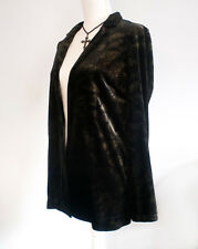 Black Velvet / Velour Saint Tropez Blazer Jacket with gold pattern Size 10 New