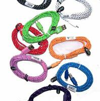 5 CORDS ANDROID CLOTH CABLE  BULK LOT cell accessory micro usb NEW PHONE charger
