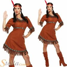 Ladies Red Indian Pocahontas Native American Wild Western Fancy Dress Costume