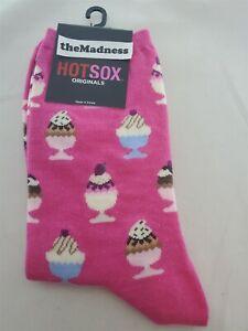 Brand New w Tags Hotsox Originals Ice Cream Sundae Pink Crew Socks HO000255 NWT