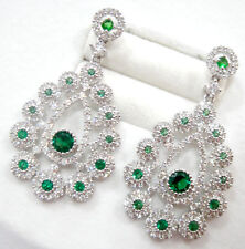 Luxurious! 925 W/G plate Green Emerald Top Quality Gems Chandelier Earrings AAA+