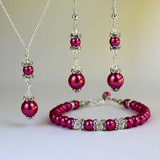 Hot pink pearls crystal necklace bracelet earrings silver wedding bridesmaid set
