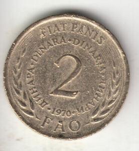 YUGOSLAVIA 2 DINARS 1970 FAO                7A              BY COINMOUNTAIN