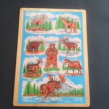Vintage Retro Wooden Peg Puzzle North American Animals Rocky Mountain