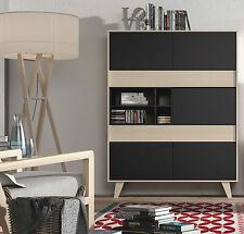 Agna Storage Cabinet Unit Mid Century Retro Living Room Furniture Grey / Oak