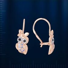 Russian solid rose gold 585 /14k Kids owl CZ earrings NWT Lovely! детские серьги