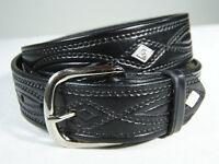 WESTERN Black or Brown LEATHER DIAMOND CONCHO Belt 670C