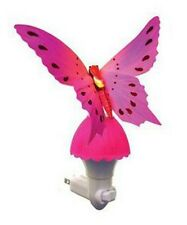 Fiber Optic Butterfly Night Light LED Color Changing Lamp - Pink