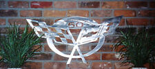 Corvette 50th Anniversary Car Art Work Brushed Metal Wall Hanging Sculpture