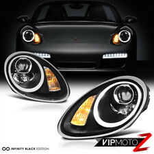 2005-2008 Porsche 987 Boxster Cayman S Black Halogen LED Projector Headlights