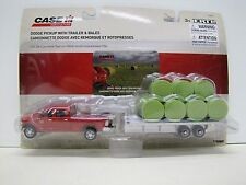 Case IH Dodge Pickup w/Trailer & Round Bales 1/64 Scale Ertl Farm Toy