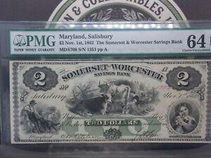 1862 $2 Maryland SALISBURY Somerset & Worcester Note Obsolete PMG 64 EPQ GEM #MB