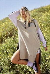 Free People Movement Maxi Sweatshirt Hoodie Spur Of The Moment Colorblock XS NWT