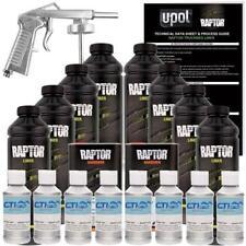 U-POL Raptor Bright Silver Urethane Spray-On Truck Bed Liner W/Free Spray Gun 8L