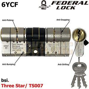 Federal BSI High Security Euro Cylinder UPVC Door 3 Lock Anti Snap 3 Star TS007